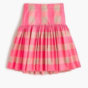 J. Crew Taffeta Neon Pink Skirt 12 NWT Gingham